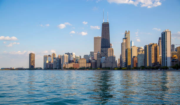 Chicago Skyline View of Chicago Skyline from North Avenue Beach chicago stock pictures, royalty-free photos & images