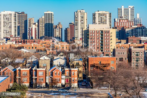 A Chicago skyline scene with residential buildings in the Old Town and Gold Coast neighborhoods