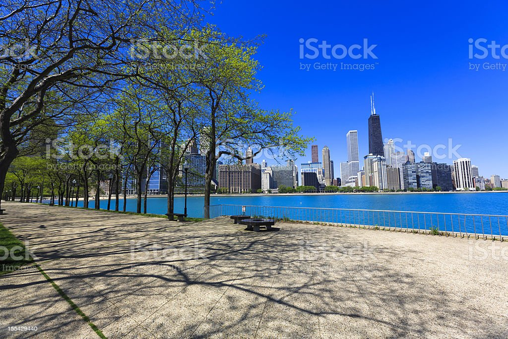 Chicago skyline seen from promenade stock photo