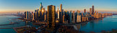 Chicago Skyline at Sunrise. Chicago River and Lake Front.