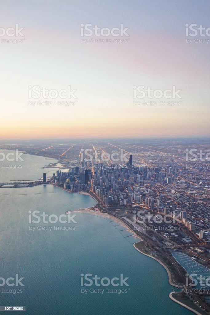 Chicago skyline Sunrise stock photo