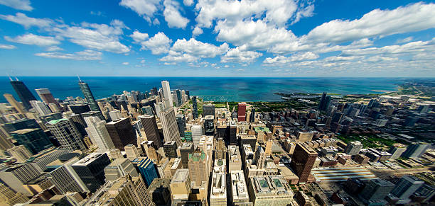 Chicago skyline to Lake Michigan stock photo