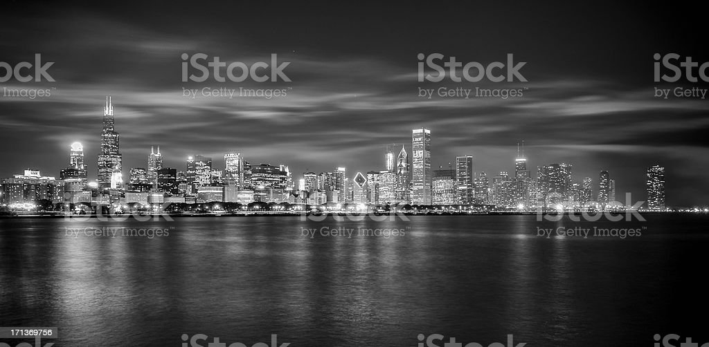 Chicago Skyline Under Dramatic Low Clouds stock photo