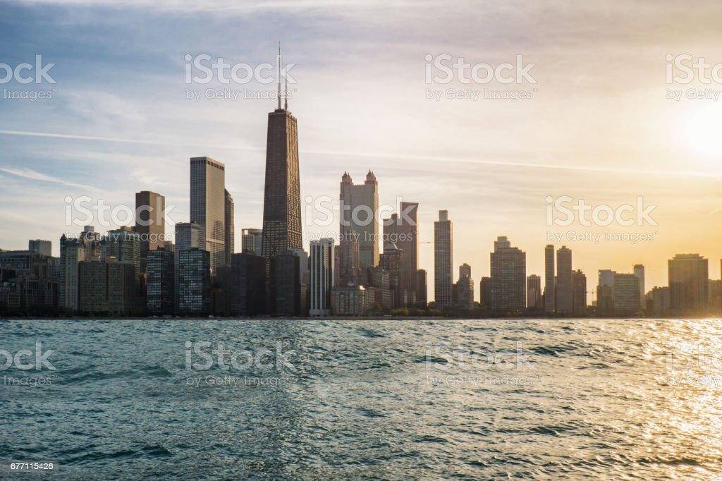 Chicago skyline view form lake Michigan stock photo