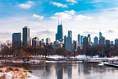 The Chicago skyline viewed from South Pond in Lincoln Park Chicago with snow and ice