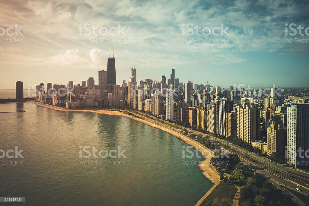 Chicago Skyline vintage aerial view stock photo