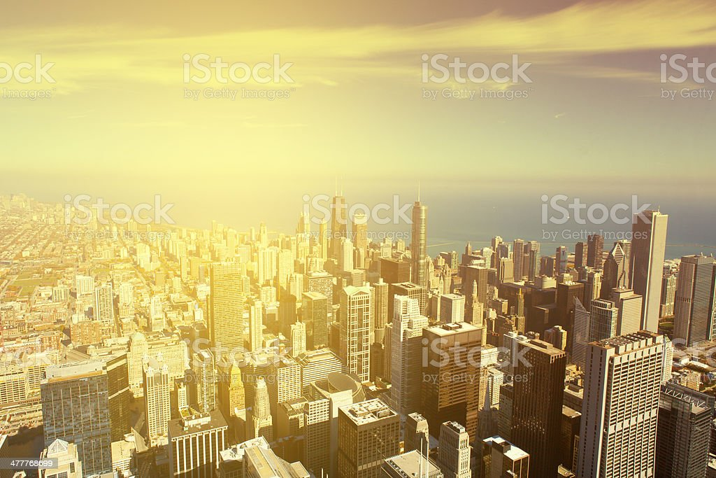Chicago Skyline With Blue Sky stock photo