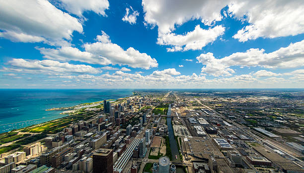 Chicago Skyline with Clouds stock photo