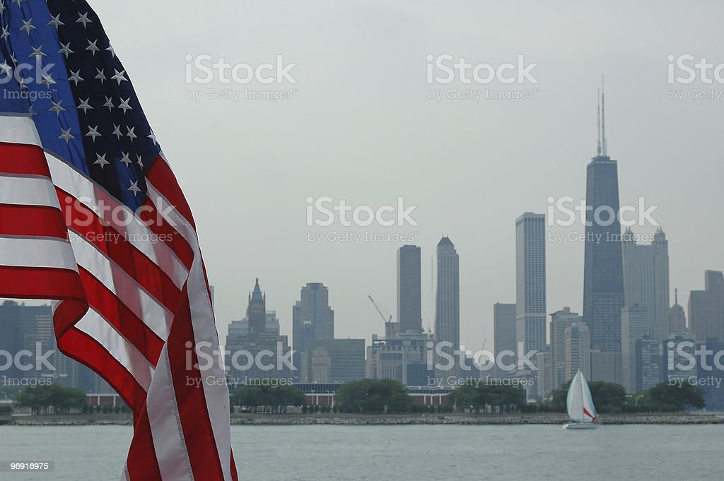 Chicago skyline with flag royalty-free stock photo