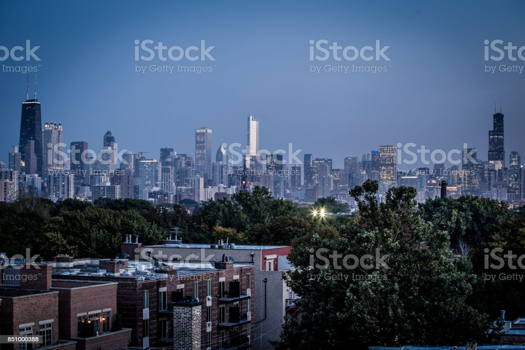Chicago skyline with homes in foreground stock photo