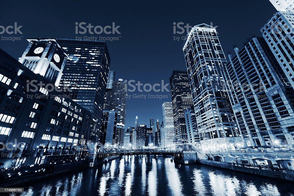 Chicago Skyline.Blue Toned royalty-free stock photo