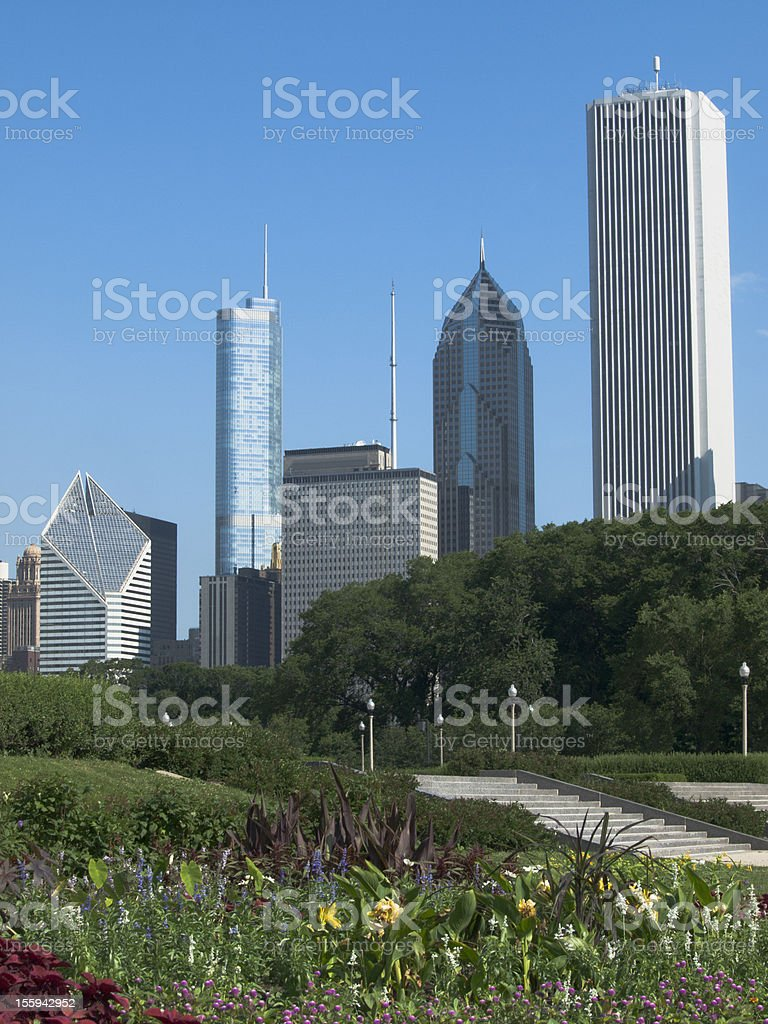 Chicago Skyscrapers and Grant Park stock photo