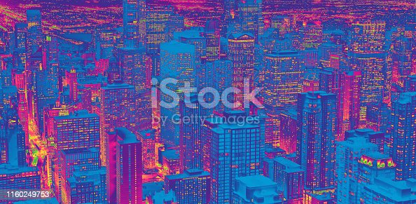 Chicago cityscape skyscrapers at night aerial view funky gradient