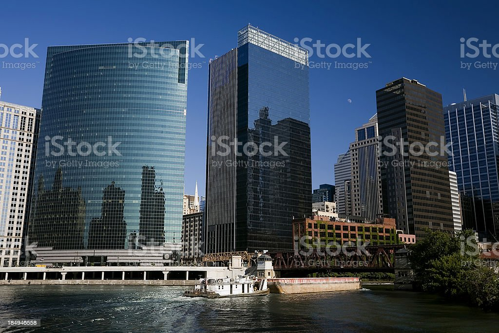 Chicago Skyscrapers on Wacker Drive royalty-free stock photo