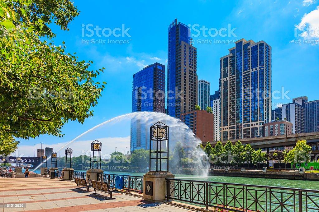 Chicago skyscrapers,Centennial Fountain ,Chicago River, Ill stock photo