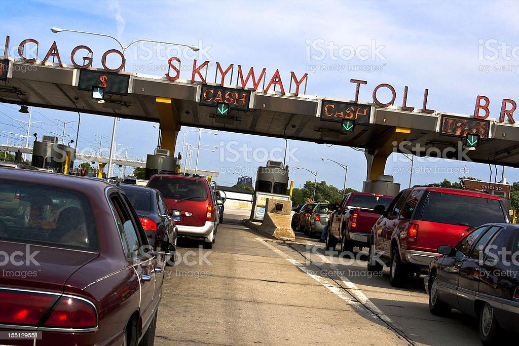 Chicago Skyway Toll Bridge in Heavy Traffic stock photo