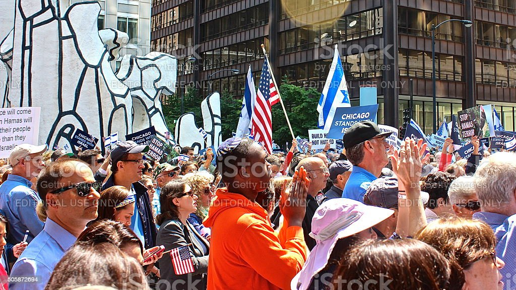 'Chicago Stands with Israel', American and Israeli flags at rally stock photo