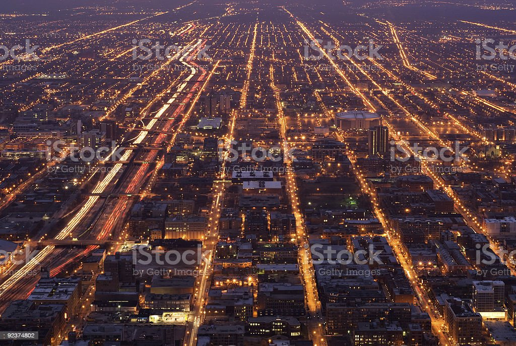 Chicago streets at night royalty-free stock photo