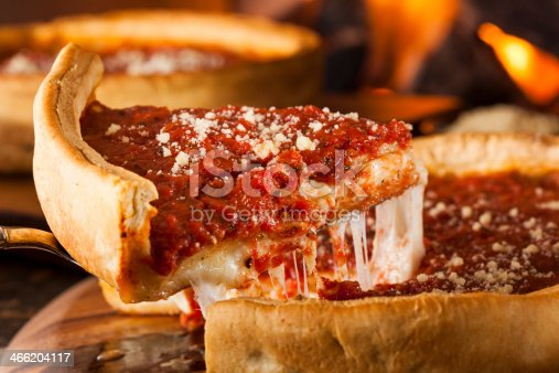Chicago Style Deep Dish Cheese Pizza with Tomato Sauce