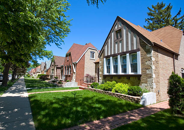 Chicago Suburbs Street  bungalow stock pictures, royalty-free photos & images