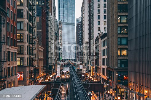 Trains Passing over the Tracks in Downtown Chicago