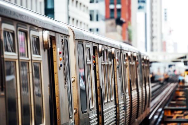 Chicago subway train on Loop stock photo