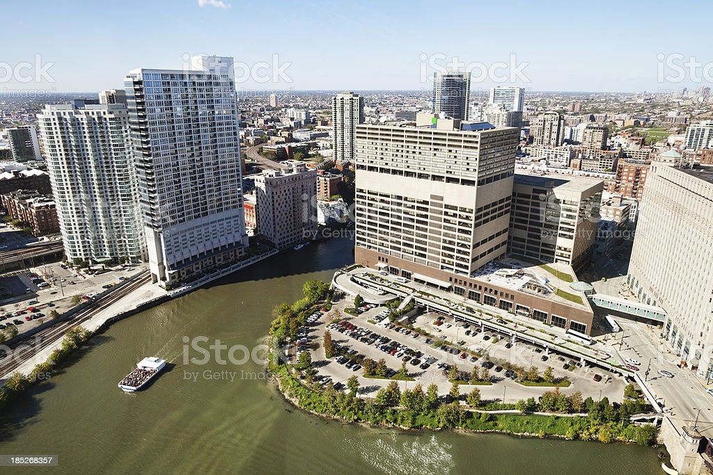 Chicago Sun Times Building from Above royalty-free stock photo
