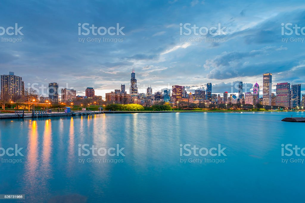 Chicago Sunset Skyline Night stock photo