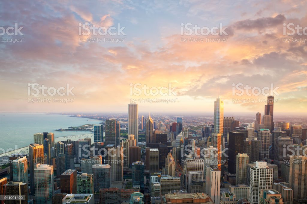 Chicago sunset time stock photo