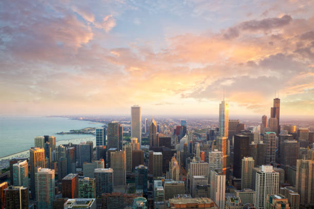 chicago sunset time - financial district stock pictures, royalty-free photos & images