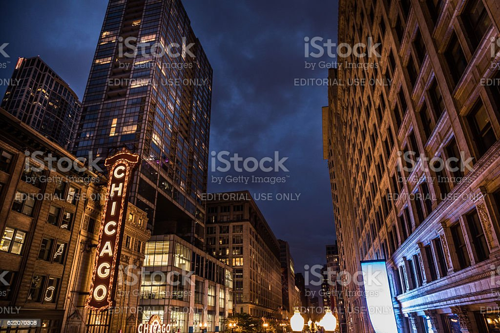 Chicago Theater and historical buildings district in city downtown stock photo