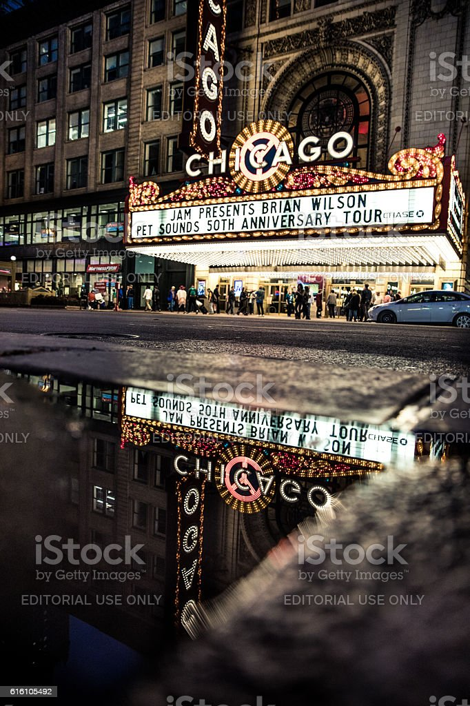 Chicago Theater in city downtown stock photo