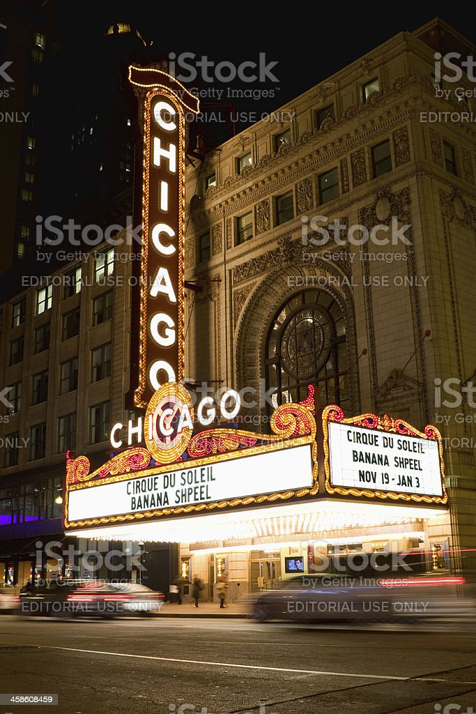 Chicago Theater Marquee at Night stock photo