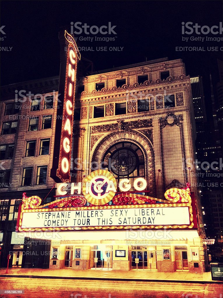 Chicago Theather at night stock photo