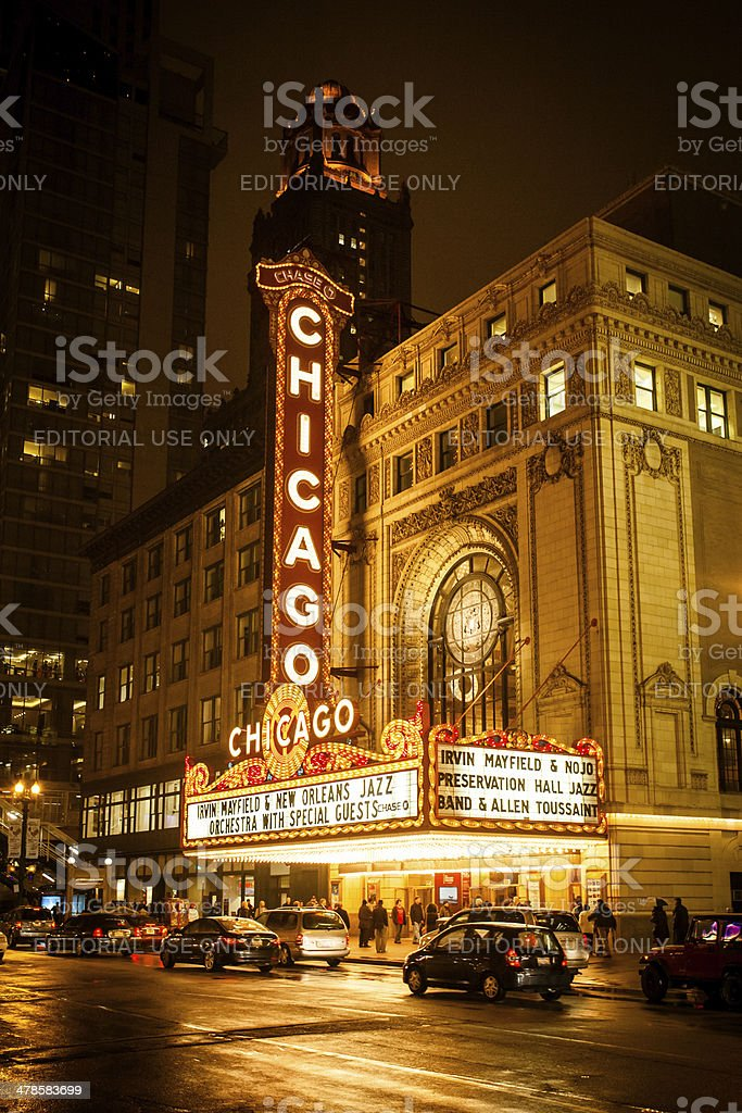Chicago Theatre At Night stock photo