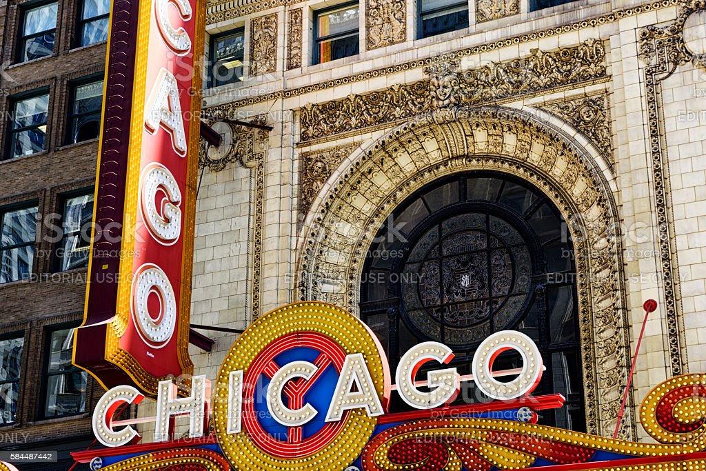 Chicago Theatre Illuminated Sign and Facade stock photo
