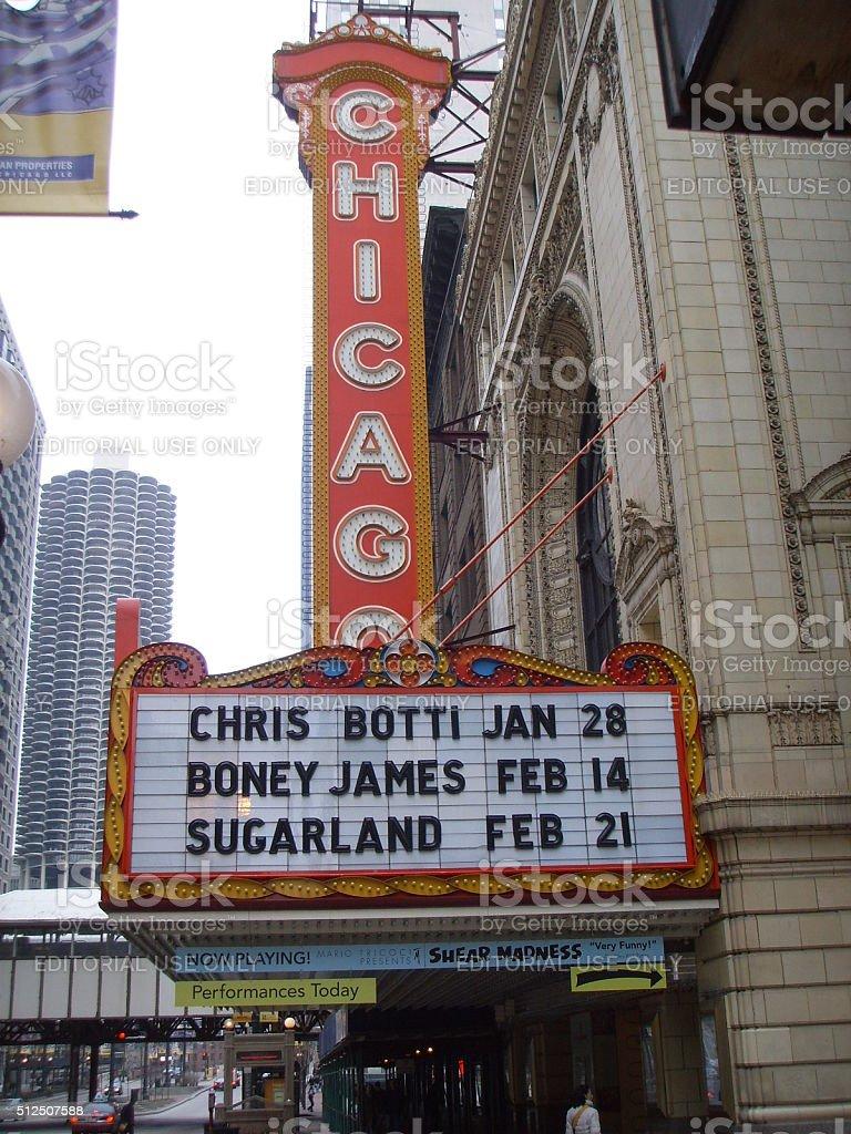 Chicago Theatre in Chicago, IL. stock photo
