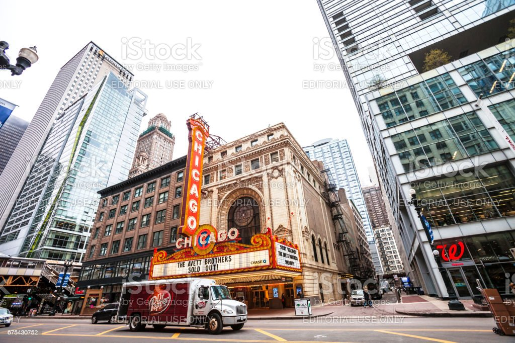 Chicago Theatre in downtown. stock photo