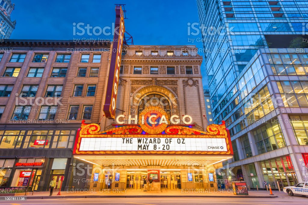 Chicago Theatre Marquee Chicago, Illinois - May 20, 2018: The landmark Chicago Theatre on State Street at twilight. The historic theater dates from 1921. Architecture Stock Photo