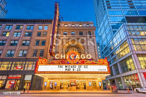 Chicago, Illinois - May 20, 2018: The landmark Chicago Theatre on State Street at twilight. The historic theater dates from 1921.