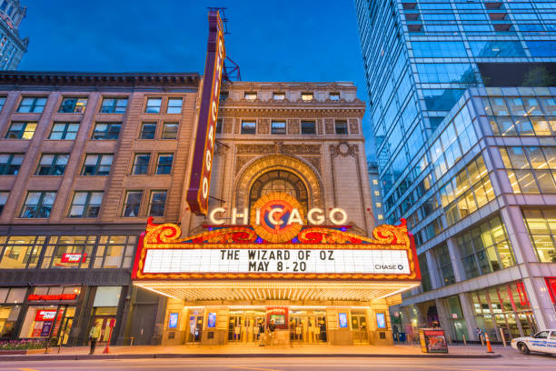 Chicago Theatre Marquee Chicago, Illinois - May 20, 2018: The landmark Chicago Theatre on State Street at twilight. The historic theater dates from 1921. theater marquee commercial sign stock pictures, royalty-free photos & images