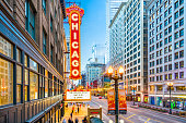 CHICAGO, ILLINOIS - MAY 10, 2018: The landmark Chicago Theatre on state Street at twilight. The historic theater dates from 1921.