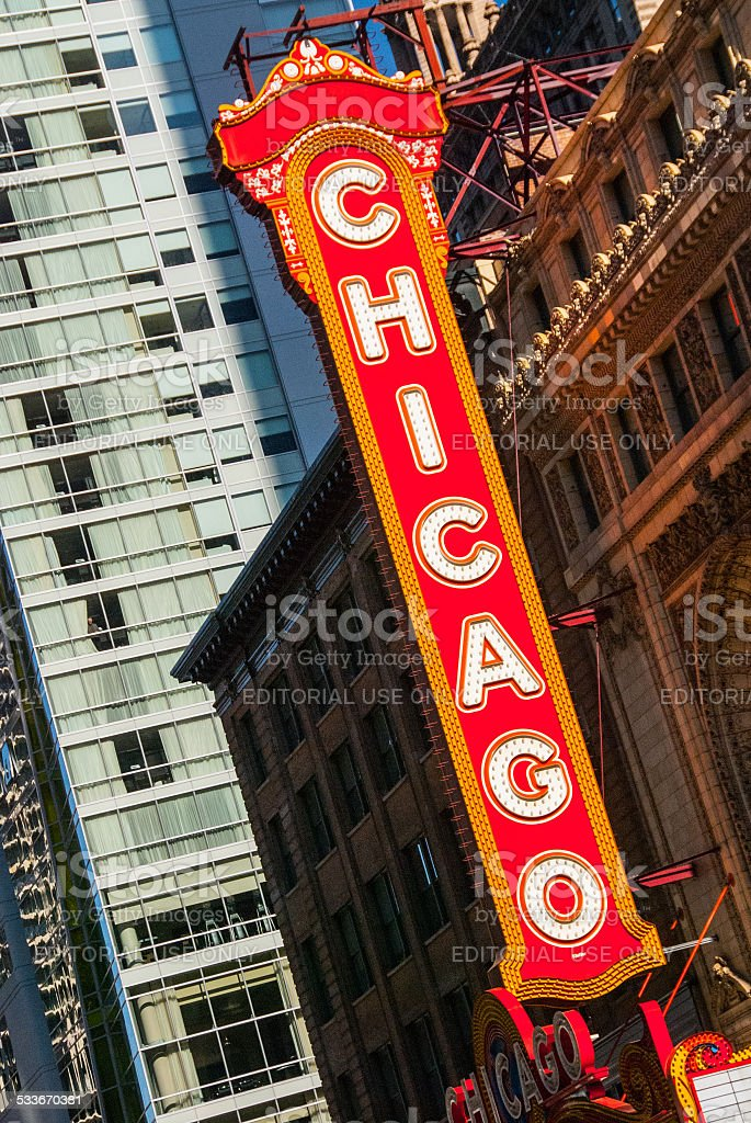 Chicago Theatre Marquee Sign stock photo