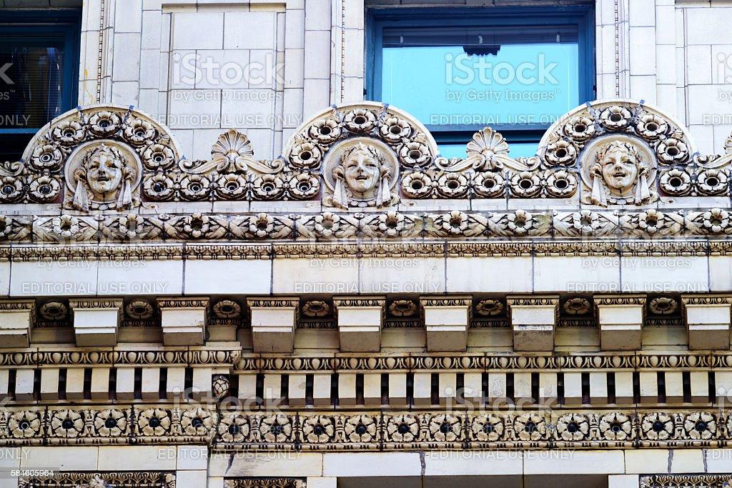 Chicago Theatre terracotta detail stock photo