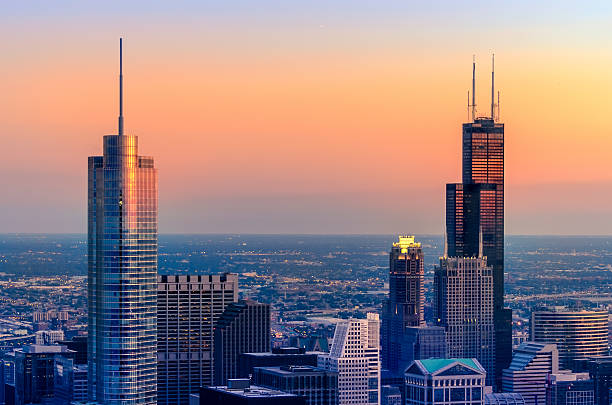 Chicago Towers in Red and Blue stock photo