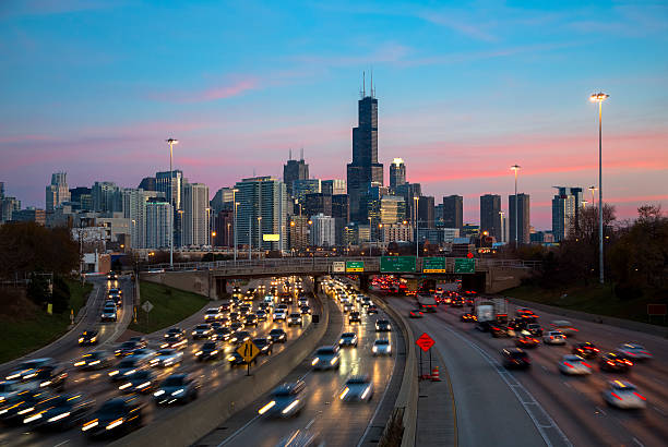Chicago Traffic and Skyline at Dusk stock photo
