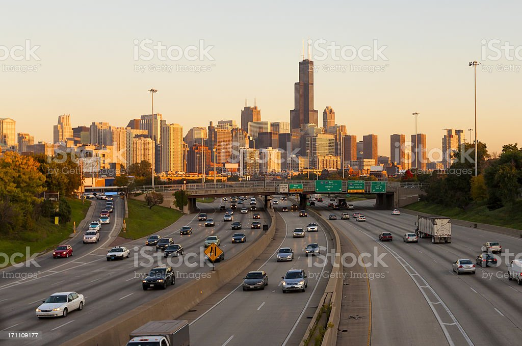 Chicago Traffic at Sunset stock photo
