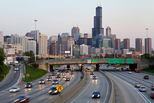 Chicago Traffic at Sunset stock photo