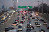 Traffic is seen slowly moving on the Montrose Ave overpass at the 1-90 Kennedy Expressway and the I-94 Edens Split the day before Thanksgiving on November 22, 2017 in Chicago, Illinois