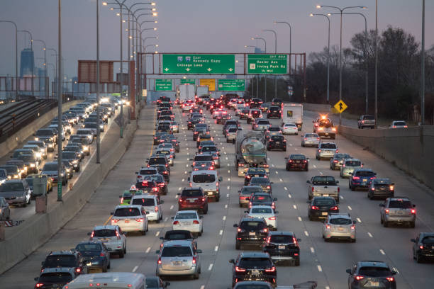 chicago traffic - traffic stock photos and pictures